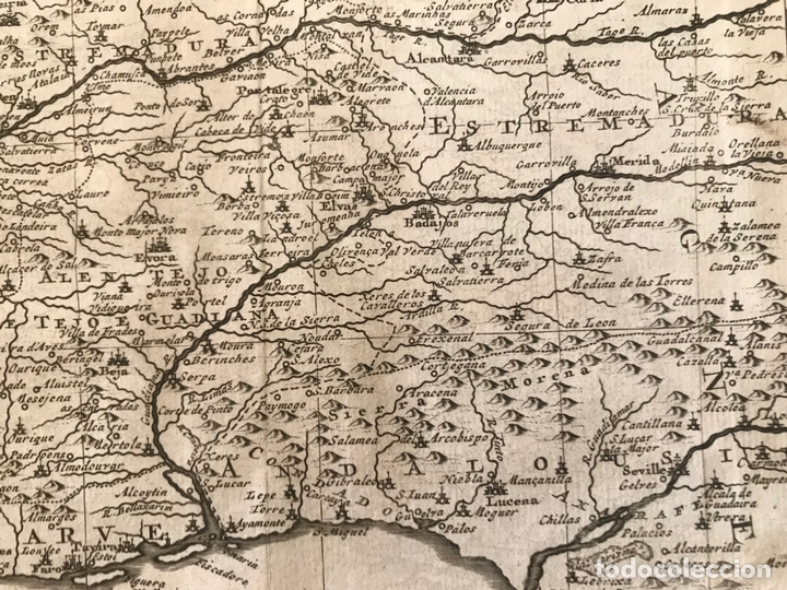 Arte: Mapa de Portugal y occidente de España, 1648. Van der Aa - Foto 10 - 160740377