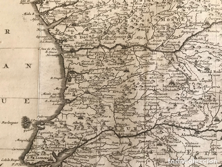 Arte: Mapa de Portugal y occidente de España, 1648. Van der Aa - Foto 12 - 160740377
