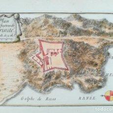 Arte: MAPA CASTILLO TRINITAT ROSES - GIRONA - BEAULIEU - AÑO 1707. Lote 160779982
