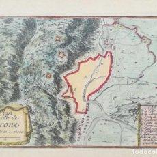 Arte: MAPA DE GIRONA - BEAULIEU - AÑO 1707. Lote 160815794