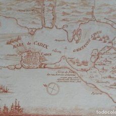 Arte: CÁDIZ, MAPA POR P. SCHENK, 1713, KADIX../GADES... Lote 160973534