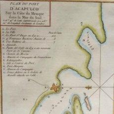 Arte: MÉXICO, ACAPULCO, MAPA POR BELLIN, 1754, PLAN DU PORT D´ACAPULCO... Lote 160978674