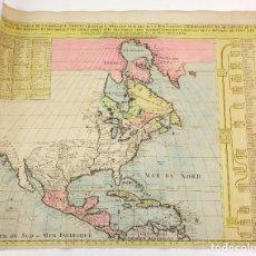 Arte: MAPA COLONIAL DE AMÉRICA DEL NORTE, COLOREADO, SIGLO XVIII, TRIBUS NATIVAS AMERICANAS. 61X51CM. Lote 162012922
