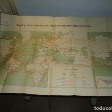 Art: MAPA DE LA EXPORTACIÓN DIRECTA DE VINOS DE LOS PRINCIPALES PAÍSES PRODUCTORES 1897. 58,50 X 100. Lote 162577854