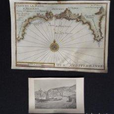 Arte: ALICANTE – 2 GRABADOS MICHELOT/BREMOND, 1730 & 1894, PLAN DE LA RADE D´ALICANT & ALICANTE. Lote 162760502