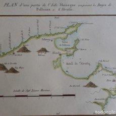 Arte: MALLORCA, POLLENÇA, ALCÚDIA, PORT DE POLLENÇA, MOTTE, 1830, PLAN D'UNE PARTIE DE L'ISLE DE MAIORQUE. Lote 165636238
