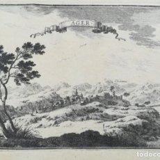 Arte: GRABADO DE AGER - LLEIDA - BEAULIEU - AÑO 1707. Lote 165767710