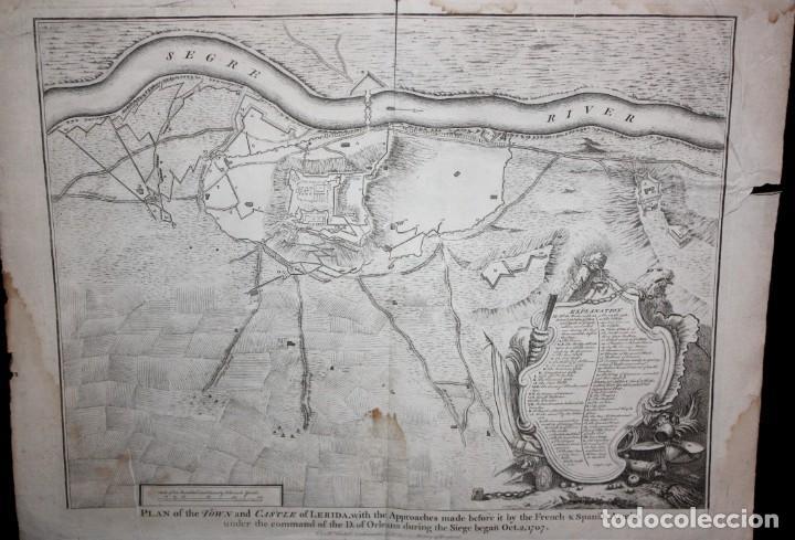 ANTIGUO GRABADO DE MAPA DE LA GUERRA DE SUCESION DEL AÑOS 1707 (LERIDA) (Arte - Cartografía Antigua (hasta S. XIX))