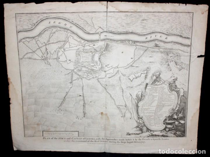 Arte: ANTIGUO GRABADO DE MAPA DE LA GUERRA DE SUCESION DEL AÑOS 1707 (LERIDA) - Foto 2 - 166030350