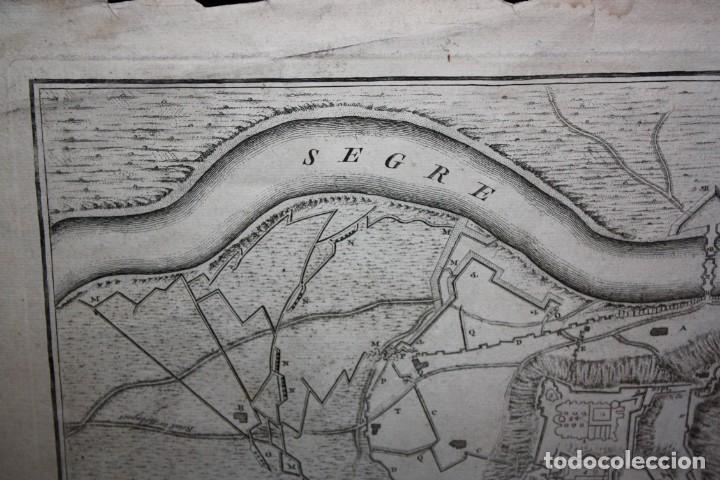 Arte: ANTIGUO GRABADO DE MAPA DE LA GUERRA DE SUCESION DEL AÑOS 1707 (LERIDA) - Foto 3 - 166030350