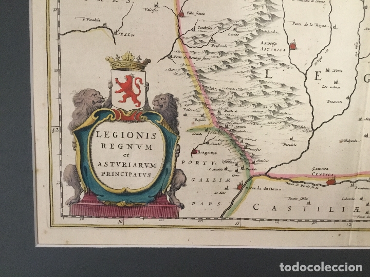 Arte: MAPA. LEGIONIS REGNUM ET ASTURIARUM PRINCIPATUS. REINO DE LEÓN Y PRINCIPADO DE ASTURIAS. S. XVII. - Foto 2 - 12484980