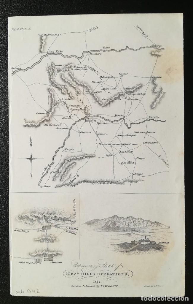 MAPA DE ALCUESCAR CACERES - OP GRAL HILL EN EXTREMADURA - GUERRA DE LA INDEPENDENCIA - AÑO 1811 (Arte - Cartografía Antigua (hasta S. XIX))