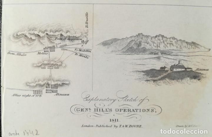 Arte: MAPA DE ALCUESCAR CACERES - OP GRAL HILL EN EXTREMADURA - GUERRA DE LA INDEPENDENCIA - AÑO 1811 - Foto 3 - 166871236