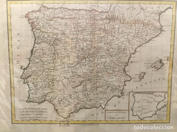 MAPA DE ESPAÑA. CARTE GENERALE DE L'ESPAGNE. FINALES DEL SIGLO XVIII. 43 X 55 CM. (Arte - Cartografía Antigua (hasta S. XIX))