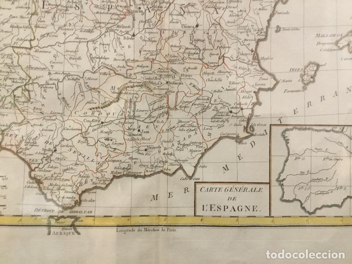 Arte: MAPA DE ESPAÑA. CARTE GENERALE DE L'ESPAGNE. FINALES DEL SIGLO XVIII. 43 X 55 CM. - Foto 2 - 166883640
