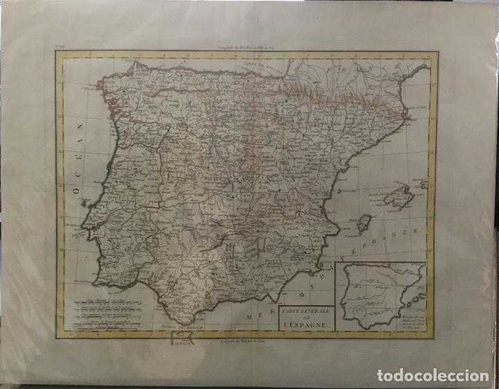 Arte: MAPA DE ESPAÑA. CARTE GENERALE DE L'ESPAGNE. FINALES DEL SIGLO XVIII. 43 X 55 CM. - Foto 3 - 166883640