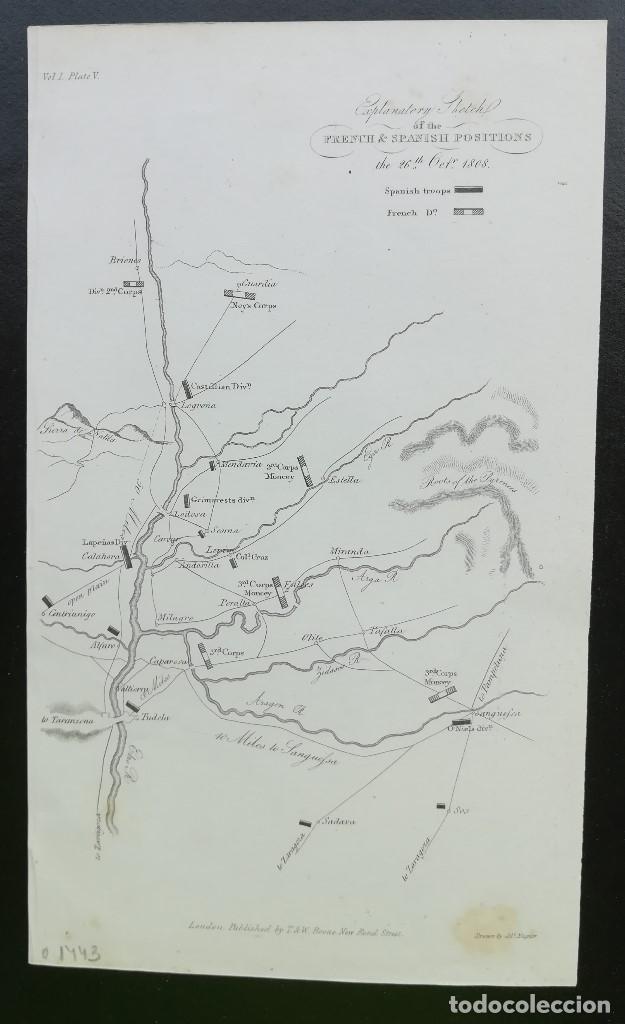 MAPA TUDELA CALAHORRA LOGROÑO MIRANDA ESTELLA - GUERRA DE LA INDEPENDENCIA - AÑO 1808 (Arte - Cartografía Antigua (hasta S. XIX))