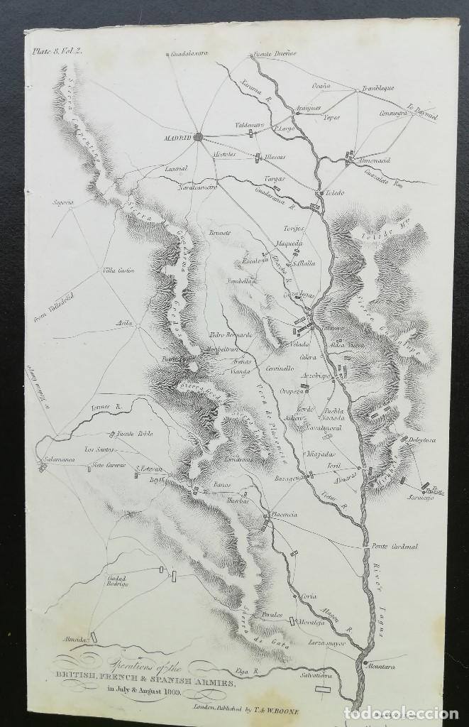 MAPA MADRID ALMONACID TOLEDO PLASENCIA CASTILLA CACERES- GUERRA DE LA INDEPENDENCIA - AÑO 1809 (Arte - Cartografía Antigua (hasta S. XIX))