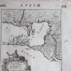 Arte: 1695-HOJA CON MAPA DE CÁDIZ. HABLA TAMBIÉN DE JAÉN, GRANADA, MURCIA, MÁLAGA, ALMERIA.ORIGINAL. Lote 167532324