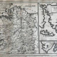 Arte: MAPA DE GALICIA Y PUERTOS DE VIGO Y A CORUÑA (ESPAÑA), 1705. NICOLÁS DE FER. Lote 167869380