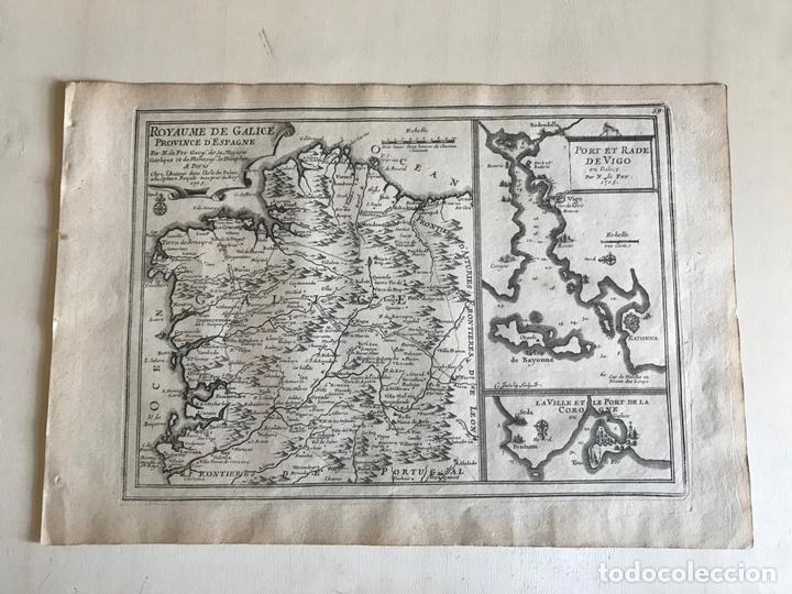 Arte: Mapa de Galicia y puertos de Vigo y A Coruña (España), 1705. Nicolás de Fer - Foto 2 - 167869380