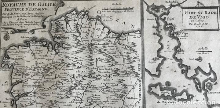 Arte: Mapa de Galicia y puertos de Vigo y A Coruña (España), 1705. Nicolás de Fer - Foto 3 - 167869380