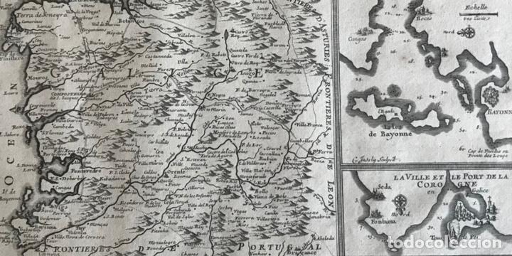 Arte: Mapa de Galicia y puertos de Vigo y A Coruña (España), 1705. Nicolás de Fer - Foto 4 - 167869380