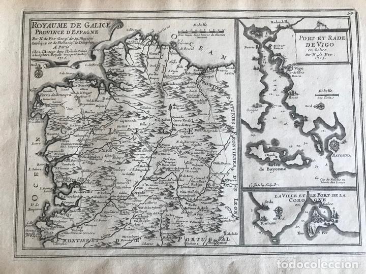 Arte: Mapa de Galicia y puertos de Vigo y A Coruña (España), 1705. Nicolás de Fer - Foto 5 - 167869380