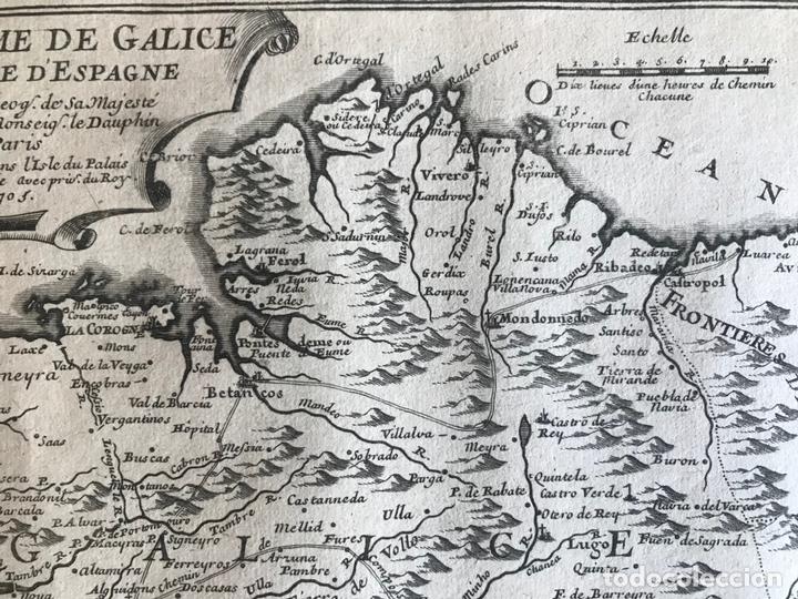 Arte: Mapa de Galicia y puertos de Vigo y A Coruña (España), 1705. Nicolás de Fer - Foto 7 - 167869380