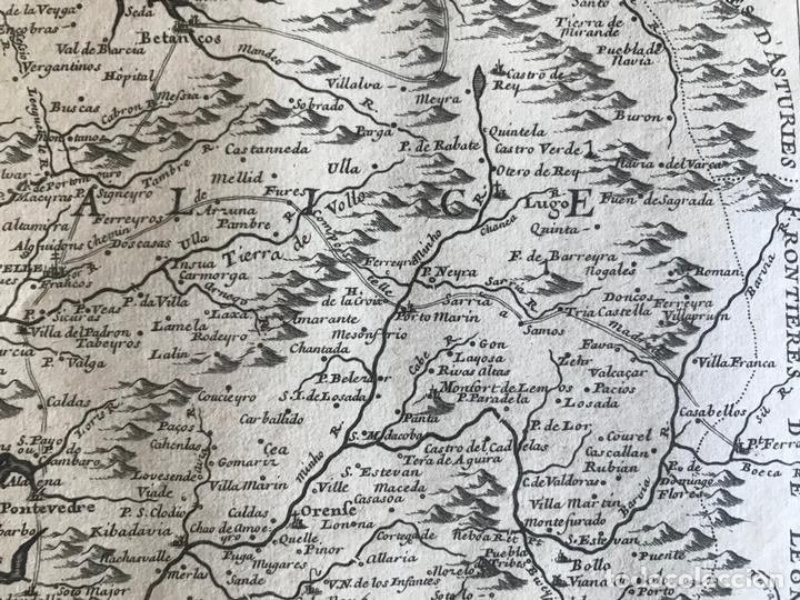 Arte: Mapa de Galicia y puertos de Vigo y A Coruña (España), 1705. Nicolás de Fer - Foto 9 - 167869380
