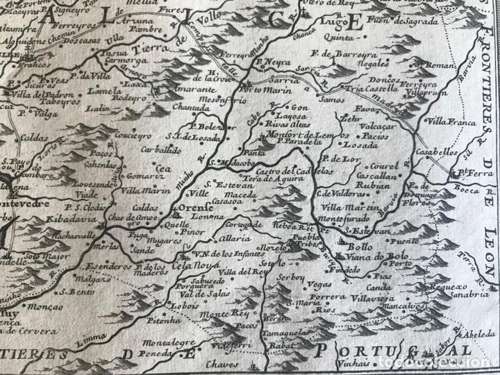 Arte: Mapa de Galicia y puertos de Vigo y A Coruña (España), 1705. Nicolás de Fer - Foto 10 - 167869380