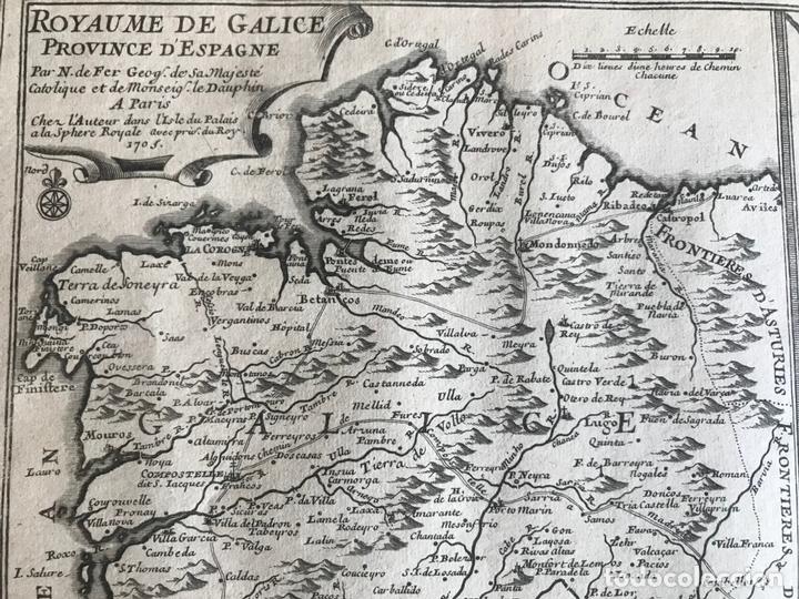 Arte: Mapa de Galicia y puertos de Vigo y A Coruña (España), 1705. Nicolás de Fer - Foto 16 - 167869380