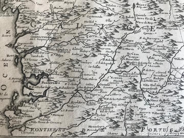 Arte: Mapa de Galicia y puertos de Vigo y A Coruña (España), 1705. Nicolás de Fer - Foto 17 - 167869380