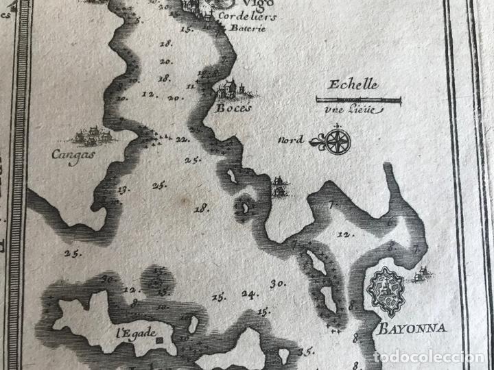 Arte: Mapa de Galicia y puertos de Vigo y A Coruña (España), 1705. Nicolás de Fer - Foto 18 - 167869380