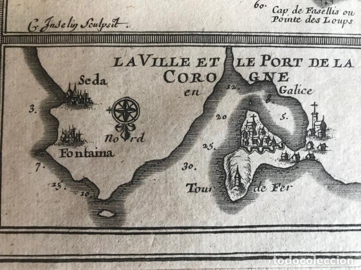 Arte: Mapa de Galicia y puertos de Vigo y A Coruña (España), 1705. Nicolás de Fer - Foto 19 - 167869380