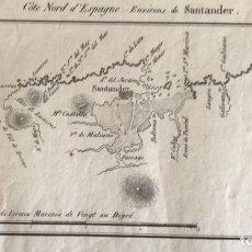 Arte: MAPA DEL LITORAL DE SANTANDER Y SUS INMEDIACIONES (CANTABRIA, ESPAÑA), HACIA 1850. MOTTE. Lote 168040465