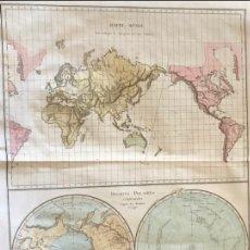 Arte: GRAN MAPA DEL MUNDO SOBRE PROYECCIÓN DE MERCATOR Y REGIONES POLARES, 1785. EDME MENTELLE. Lote 168489621