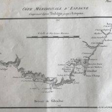 Arte: MAPA DE LITORAL DE TARIFA Y ESTEPONA E INMEDIACIONES (ESPAÑA), HACIA 1850. MOTTE. Lote 168812016