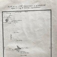 Arte: MAPA DEL LITORAL DE DENIA A VALENCIA E INMEDIACIONES (ESPAÑA), HACIA 1850. MOTTE. Lote 186057942