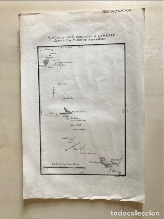 Arte: Mapa del litoral de Denia a Valencia e inmediaciones (España), hacia 1850. Motte - Foto 2 - 186057942