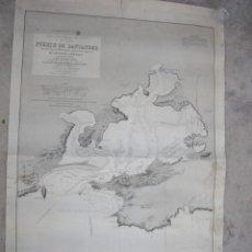 Arte: RARISIMO MAPA DEL PUERTO DE SANTANDER DIRECCION DE HIDROGRAFIA,PUBLICADO 1843 CORREGIDO 1874,. Lote 169182480