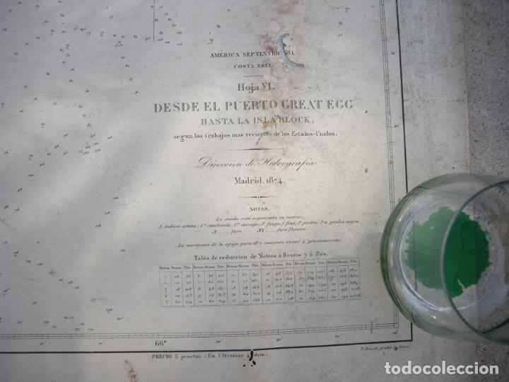 Arte: new york port ma, direccion de hidrografia 1874,mapa del puerto de nueva york,muy raro,rare - Foto 3 - 169183056