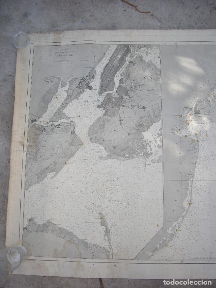 NEW YORK PORT MA, DIRECCION DE HIDROGRAFIA 1874,MAPA DEL PUERTO DE NUEVA YORK,MUY RARO,RARE (Arte - Cartografía Antigua (hasta S. XIX))