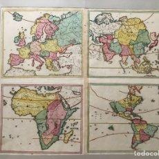 Arte: GRAN MAPA DE ATLAS ESCOLAR DE AMÉRICA, EUROPA, ASIA Y ÁFRICA, 1719. HOMANN/HUBNER. Lote 170180220
