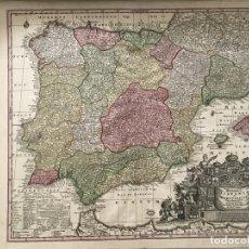 Arte: GRAN MAPA DE ESPAÑA Y PORTUGAL, 1720. M. SEUTTER. Lote 170414420