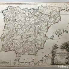 Arte: GRAN MAPA DE ESPAÑA Y PORTUGAL, 1757. ROBERT DE VAUGONDY. Lote 170438532