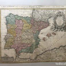 Arte: GRAN MAPA DE ESPAÑA Y PORTUGAL, 1728. J.B. HOMANN. Lote 170452900