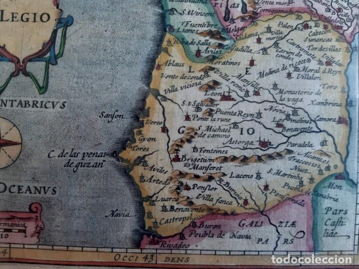 Arte: MAPA DEL REINO DE LEON. PETRUS BERTIUS. 1616 - Foto 3 - 170827435