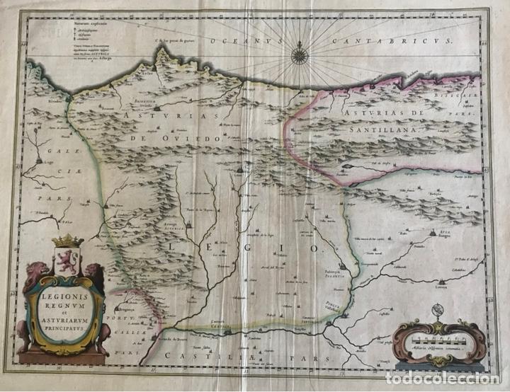 GRAN MAPA A COLOR DE ASTURIAS, CANTABRIA, CASTILLA Y LEÓN (ESPAÑA), 1652. WILHELM BLAEU (Arte - Cartografía Antigua (hasta S. XIX))