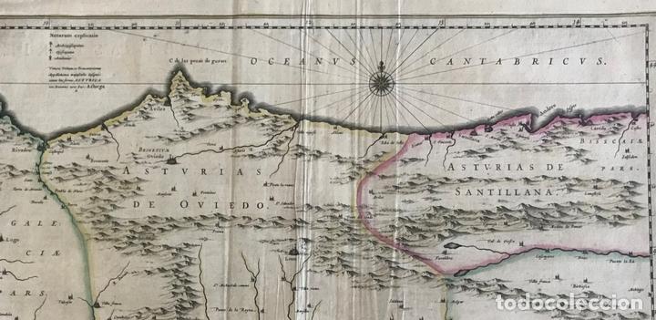 Arte: Gran mapa a color de Asturias, Cantabria, Castilla y León (España), 1652. Wilhelm Blaeu - Foto 2 - 171240674
